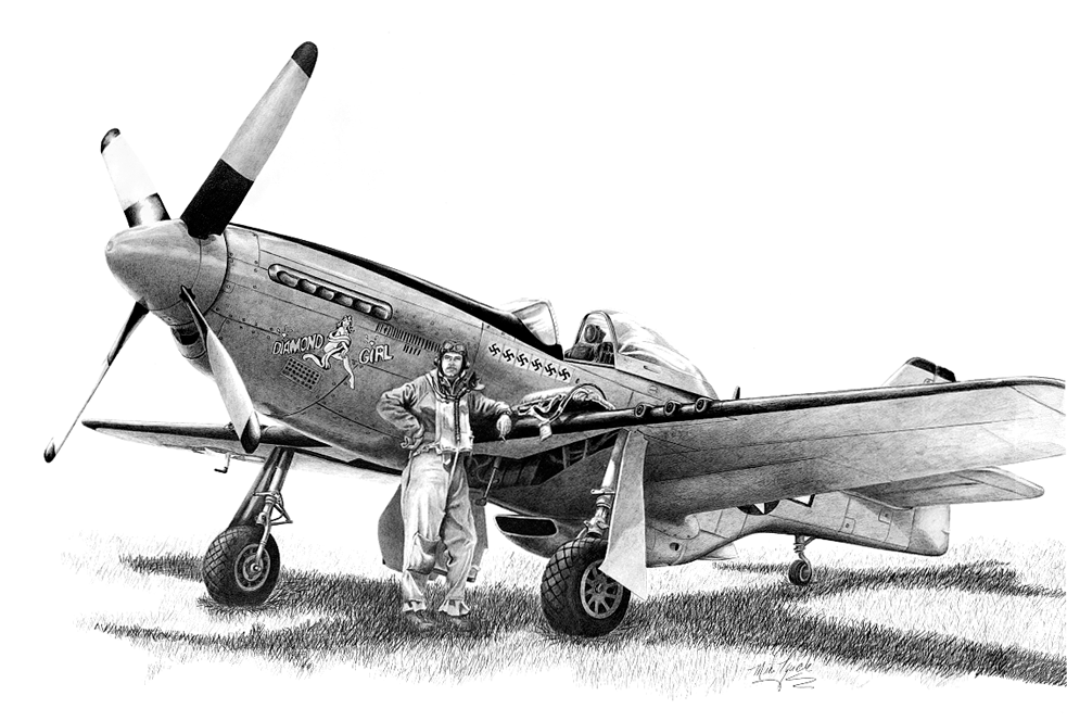 P51 Mustang Aircraft Illustration Aeroplane Colouring Page